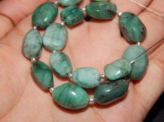 100%Natural Emerald Tumble Beads Smoth Uneven Shape  by SRBEADS