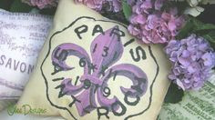 Items similar to Parisian Postage Stamp Cancellation French Fleur de Lis PILLOW in shades of Purple, Gold and Black with a Cream Linen Envelope Closure Back on Etsy Shades Of Purple, Purple Gold, Deathly Hallows Tattoo, Postage Stamps, Parisian, Home Accessories, Envelope, Lily, Pillows
