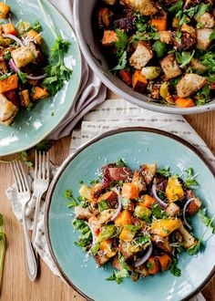 A hearty winter panzanella salad with a lovely balance of sweet and savory.
