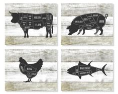 Butcher Art Prints Kitchen Wall Art Cow Pig Chicken by Picturality