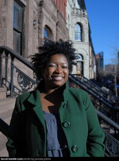 Beautiful woman, and photograph of a bright, cold day. This is Melinda, founder and editor of lifestyle blog Get Togetha, in Harlem. Photo by Jamala Johns, lecoil.com