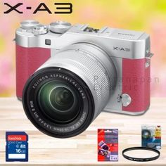 ซื้อเลย  Fujifilm X-A3 24 MPixel พร้อมเลนส์ XC16-50mm (สีชมพู) + SD Card16GB + ฟิล์มกันรอยโฟกัส + UV Filter 58mm  ราคาเพียง  23,500 บาท  เท่านั้น คุณสมบัติ มีดังนี้ 24 MP APS-C CMOS Sensor 3 920k-Dot 180° Tilting Touchscreen Full HD Video at up to 60 fps Built-In Wi-Fi Connectivity 77-Point Autofocus System Electronic Shutter up to 1/32000 sec Extended ISO 25600 & 6 fps Shooting Film Simulation and Advanced Filters