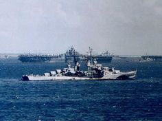 The U.S. Navy Atlanta-class cruiser USS Flint (CL-97), probably at Ulithi Atoll…