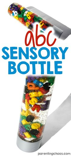 Combine literacy and sensory in this super easy Alphabet Sensory Bottle. Learning The Alphabet, Alphabet Activities, Literacy Activities, Infant Activities, Sensory Tubs, Sensory Boxes, Sensory Play, Quiet Time Boxes, Calm Down Bottle