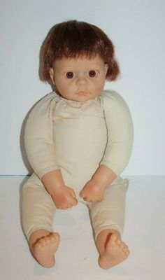 "Jimco BABY DOLL 17"" Brown Eyes Auburn Hair Cloth Bean Body Vinyl Toy Reborn 2002 #JimcoInternationalCompany"