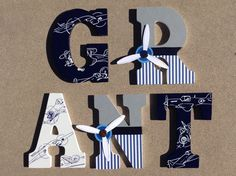 Wooden Airplane Letters Wood Airplane by KidMuralsbyDanaR on Etsy