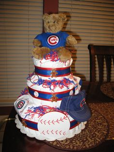 Chicago Cubs diaper cake.. So cute for a baby boy @Christie Rymsza Reedo would love it, if it was an actual cake lol