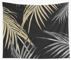 """Gold Gray Palm Leaves Dream #1 #tropical #decor #art"" Wall Tapestries by anitabellajantz 