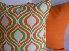 Retro Orange and Green Pillow Cover 18x18 by LittleSparrowDecor, $18.00