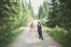 A glam gray and pink wedding dress at a mountain resort with a stunning ruffled blush wedding dress and a gorgeous view of Glacier National Park! Pink Wedding Dresses, Mountain Resort, Woodland Wedding, Event Design, Wedding Styles, Blush, Wedding Photography, Glamour, Bridal