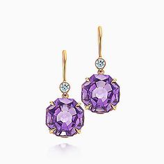 Tiffany Sparklers drop earrings in 18k rose gold with amethysts and diamonds. Wish list item!