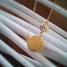 Ancient greek ,phaisto's disk,golden plated with thin chain necklace. by polasoeljewelry on Etsy Thin Chain, Ancient Greek, Plating, Gold Necklace, Necklaces, Trending Outfits, Unique Jewelry, Handmade Gifts, Etsy