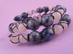 Bolivian Sodalite and White Quartzite Wire Wrapped Blue Memory Wire Bracelet £11.00