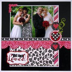 An Echo Park Love Story Wedding Layout - Scrapbook.com #weddingscrapbooks