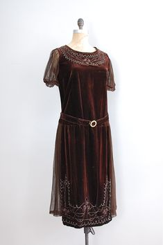 1920s dark chocolate silk velvet dress