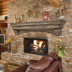 Newest Photographs Fireplace Mantels industrial Ideas The fireplace has been the focal point of rooms since the century, when the hearth moved from t Rock Fireplaces, Rustic Fireplaces, Farmhouse Fireplace, Fireplace Remodel, Fireplace Mantle, Fireplace Design, Rustic Farmhouse, Fireplace Ideas, Stone Fireplace Makeover