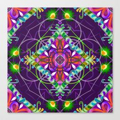 Fantasy Flower 001 Stretched Canvas by GypsYonic - $85.00 #mandala