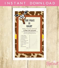 Giraffe Baby Shower Price is Right Game The Price is Right Baby Shower Game Brown and Yellow Baby Game Instant Download 00017A TppCards by TppCardS #tppcards #printable #invitations