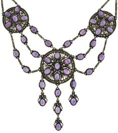 An Arts and Crafts Silver Gilt and Amethyst Festoon Necklace, circa 1900. #ArtsAndCrafts #necklace