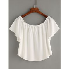 White Off The Shoulder Swing Crop Top ($21) ❤ liked on Polyvore featuring tops, off the shoulder tops, chiffon tops, short sleeve tops, chiffon crop top and white crop top