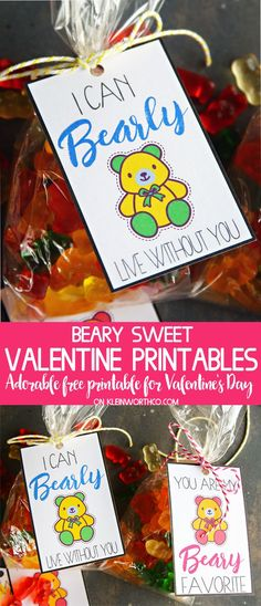 Say Happy Valentine's Day in an adorable way with these Beary Sweet Printable Valentines. Print & exchange or add them as a tag to a bag full of gummi bears for added cuteness. via @KleinworthCo #valentines #kidprintables #valentineprintables #valentinesday #funforkids #gummibears #cutegiftideas #valentineparty