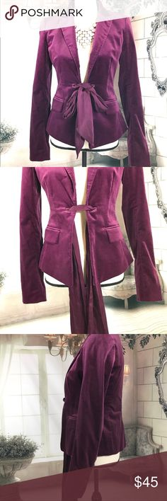 Ann Taylor blazer Wine colored blazer by Ann Taylor with faux front pockets and satin ribbon tie in front. Tie has some discoloration as pictured. Ann Taylor Jackets & Coats Blazers