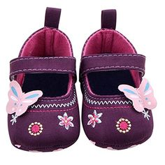 Voberry Baby Girls Soft Soled Butterfly Crib Moccasins Canvas Mary Jane Shoes 06 Month Purple ** Check out the image by visiting the link.