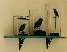 Halloween Craft: Raven Silhouettes in Glass Vases (Patterns at web site.)