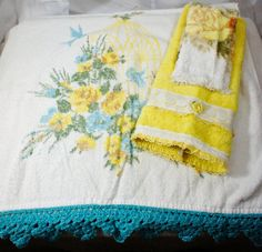 vintage turquoise and yellow bath towel mixed set bath by gleaned