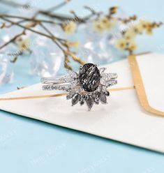 Vintage Black Rutilated Quartz Engagement Ring White Gold   Etsy
