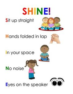 Use this poster to display after discussing rules and expectations for sitting on the rug with your kiddos :) Your students will SHINE on with…