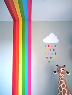 Chic Kids Bedroom Wall Decorations Ideas That Will Make Fun Your Kids Room - The interior decorating and decor of a bedroom largely depends upon it's function. There are mainly 4 types of bedrooms in a typical home plan. Room Wall Painting, Kids Room Paint, Wall Art, Rainbow Bedroom, Rainbow Room Kids, Rainbow Wall, Kids Wall Decor, Boy Decor, Wall Decorations