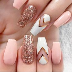 Baby Pink and Rose Gold Nails - Rose Gold Glitter Nails - Gorgeous Rose Gold Nails Perfect For Summer -Rose Gold Nail Polish, Rose Gold Chrome Nails, Rose Gold Glitter, Rose Gold Gel Nails Glitter Nail Art, Cute Acrylic Nails, Cute Nails, Rose Gold Glitter Nails, White Glitter, Nail Art Rose, Acrylic Gel, Blush Nails, Baby Pink Nails With Glitter
