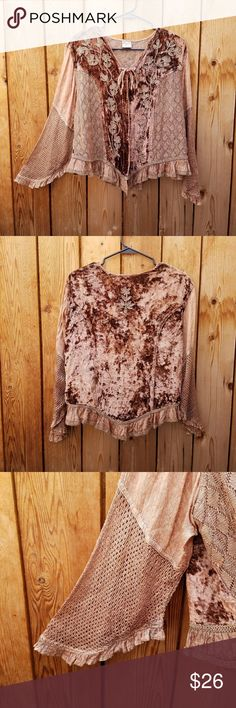 Classic Brown Embroidered Bohemian Velvet Top Cute half bell sleeves  Excellent condition  Feel free to ask me any additional questions! Bundles of 3+ items are 15% off. No trades, or modeling. Happy Poshing! Classic Tops