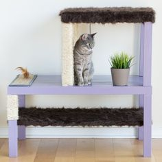 Learn how to make this easy, affordable, and aesthetically pleasing three-floor cat condo for your furry friends!