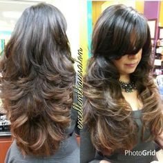 Ombre balayage highlights color cut and style by Kim - Yelp Haircuts For Long Hair With Layers, Haircuts Straight Hair, Long Layered Haircuts, Long Hair Cuts, Hairstyles With Bangs, Straight Wigs, Long Hair Short Layers, Bangs Hairstyle, Hair Bangs