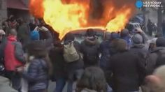 About 90 people were arrested in what has been the most violent episode of the day involving protesters and police.