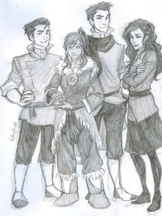 burdge: group pic because i am SO excited for season 2. :3  using an old scanner now that i'm home blegh.    BTN: Bolin, Korra, Mako, and Asami!