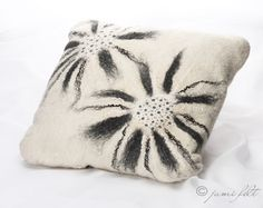 Hand Felted soft wool pillow - Home decor - Warm white with grey flower decor