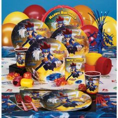Beyblade Standard Pack for 16 Party Supplies by UNIQUE. $38.54. Great Gift Idea.. Manufactured to the Highest Quality Available.. Design is stylish and innovative. Satisfaction Ensured.. Standard Pack for 16 includes: (16) invitations, dinner plates, dessert plates, cups, forks, spoons, (32) napkins, solid-color tablecover, foil balloon, (12) balloons (2 colors), curling ribbon (2 colors), crepe paper rolls (2 colors), and cake candles.