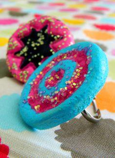 salt dough jewelry, pop art rings from flour, salt & water h Cute Kids Crafts, Winter Crafts For Kids, Craft Activities For Kids, Diy For Kids, Diy Crafts, Craft Ideas, Salt Dough Jewelry, Salt Dough Projects, Pop Art