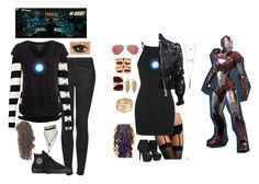 """Female Tony Stark/ IronMan"" by jcat-1d-mahomie ❤ liked on Polyvore featuring Topshop, Twist & Tango, Pieces, Ray-Ban, Reactor, Converse, Blush Lingerie, Charlotte Russe and Givenchy"