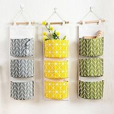 Moaere Meigar 3 Grids Wall Mounted Storage Bag Over the Door Organizer Closet Pockets Cotton Linen Closet Hanging Storage Pouch Accessories Holder Container Wall Hanging Storage, Hanging Organizer, Diy Hanging, Fabric Organizer, Over The Door Organizer, Pocket Organizer, Diy Home Crafts, Diy Home Decor, Diy Candles Easy