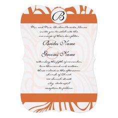 Coral Rose Swirls Wedding Invitations