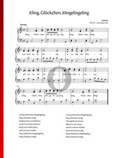 Kling, Glöckchen, klingelingeling - Klaviernoten #piano Piano Sheet Music, Special Occasion, Songs, Traditional, Holiday, Piano Music Notes, Vacations, Holidays, Piano Music
