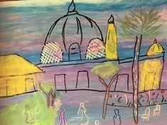 DESSIN Raoul Dufy d'inspiration. Gouache et feutres