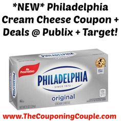 HOT COUPON!!! *NEW* Philadelphia Cream Cheese Coupon + Deals @ Publix + Target!  Click the link below to get all of the details ► http://www.thecouponingcouple.com/new-philadelphia-cream-cheese-coupon-deals-publix-target/ #Coupons #Couponing #CouponCommunity  Visit us at http://www.thecouponingcouple.com for more great posts!