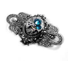 Steampunk Jewelry Pin Brooch Womens Vintage Watch Movement Blue Zircon Crystal Wedding Bride Mothers Day - Jewelry by Steampunk Boutique
