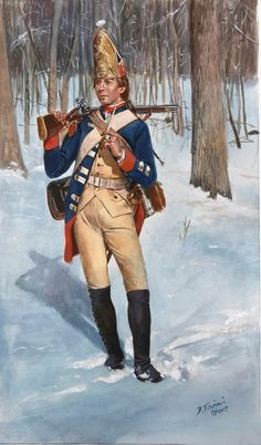 A grenadier of the Hessian Rall Regiment as he would have appeared in 1776. This was one of the three Hessian regiments defeated at the battle of Trenton. Being actually a garrison grenadier regiment did they not wear mustaches (except for possibly...