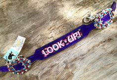 """Magics custom tack """"Look Up"""" Purple Owl Wither Strap horse"""